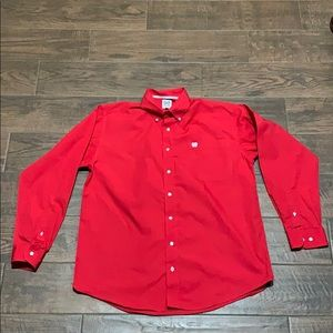 Men's red cinch button up